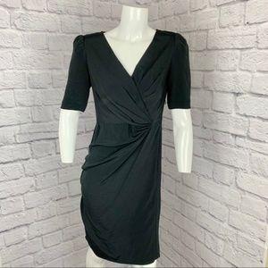 ANN TAYLOR 100% SILK V NECK RUCHED WRAP DRESS